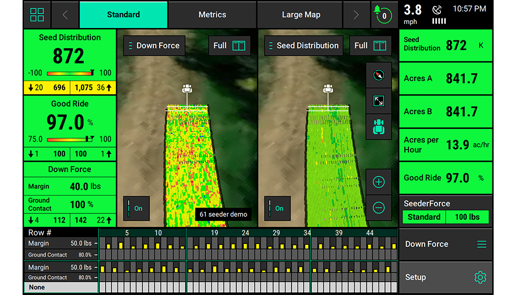 The 20|20 Monitor showing seed distribution in the planter's path.