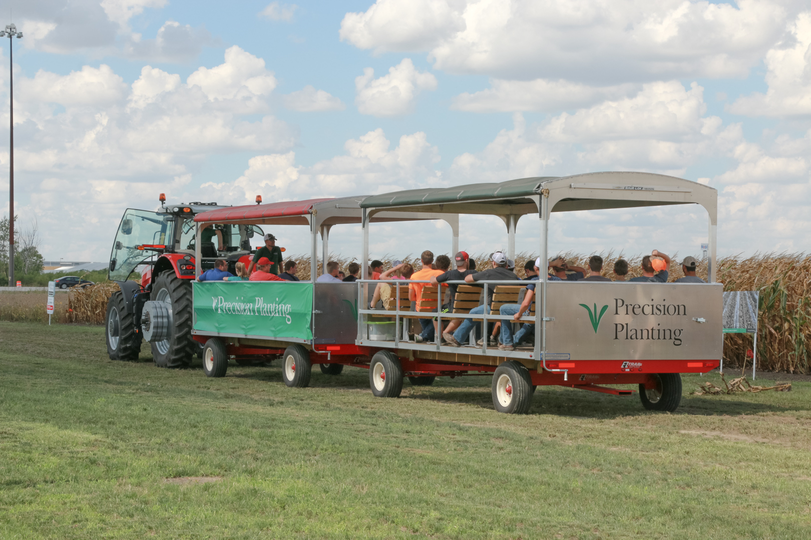 Farmers on the agronomy tour via tractor cart at the PTI Farm