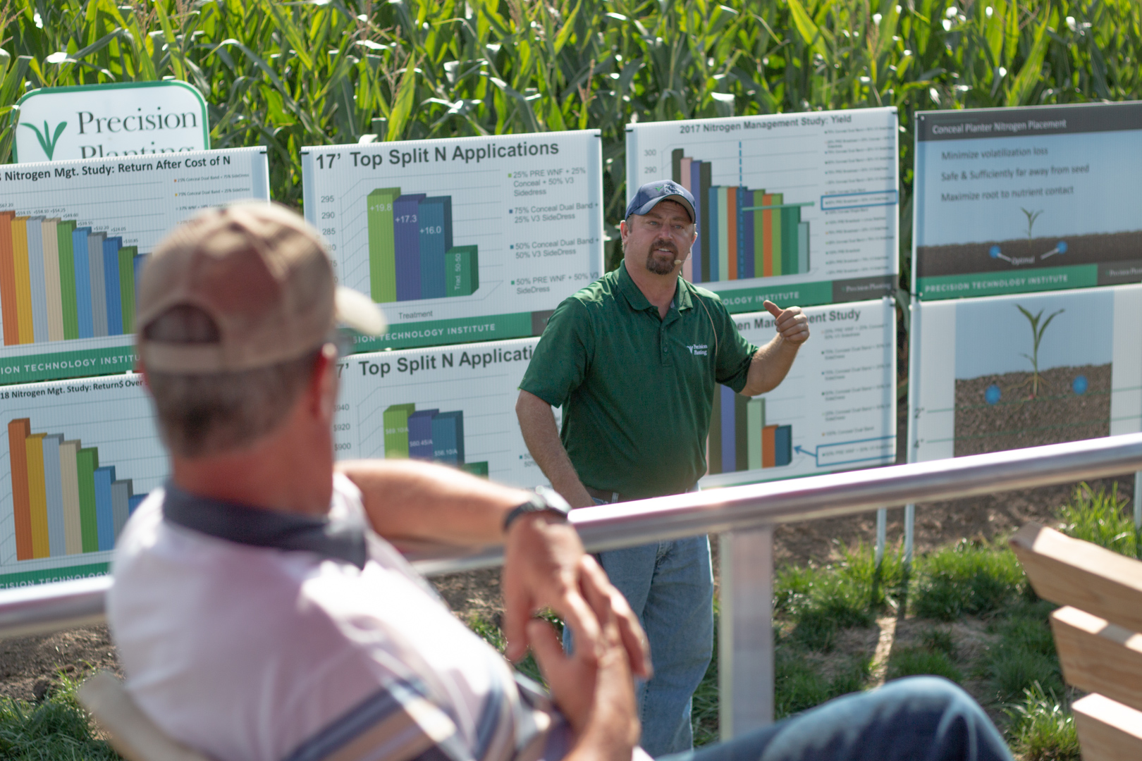 Farmers dive deeper into agronomy teachings during a session taught by an agriculture industry expert.